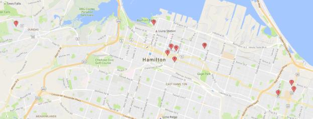 Hamilton Gun Violence Locations