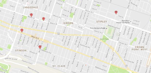Hamilton Gun Incidents Map